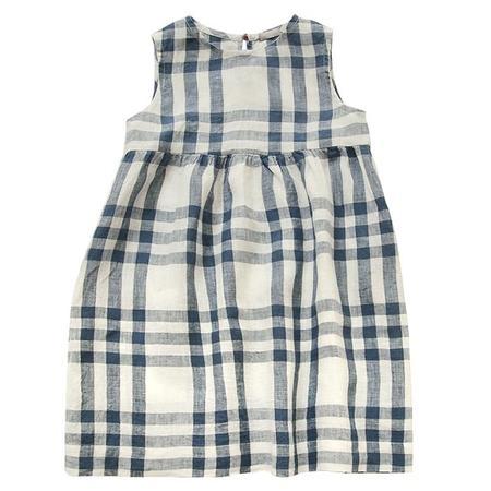 Kids Makié Makie Stella Sleeveless Dress - Off White/Blue Plaid