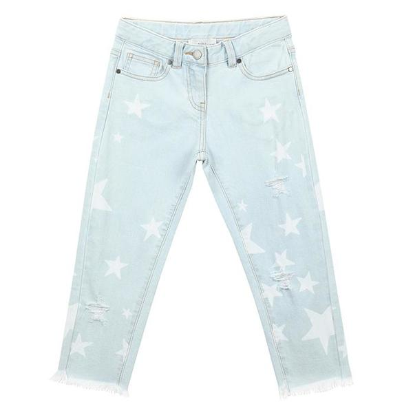 Kids Stella McCartney Pants With White Stars Denim - Blue