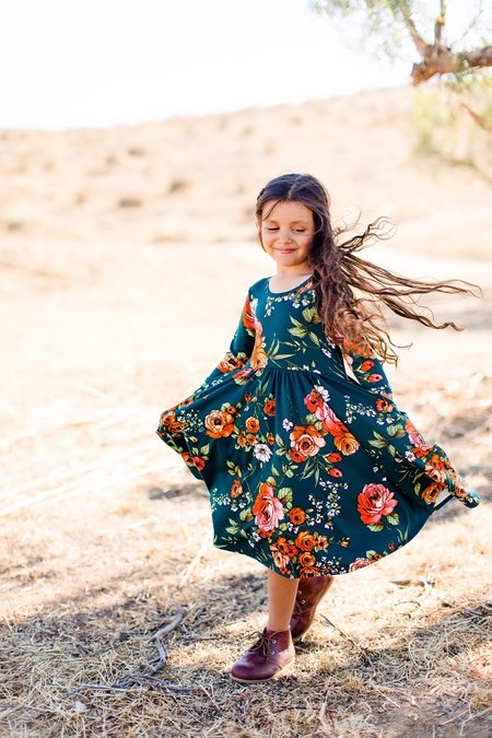 Kids Eyee Twirl Dress - Hunter Green Floral
