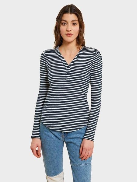 Kinly FITTED V NECK HENLEY - Blue Stripe