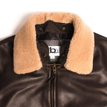 Golden Bear Leather Bomber w/ Removable Fur Collar - Dark Brown