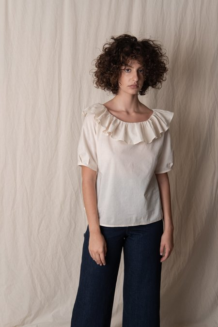 Bianca and Red FLOUNCED COLLAR BLOUSE - Cream