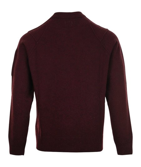 CP Company Lambswool Arm Lens Crewneck Knit - Maroon