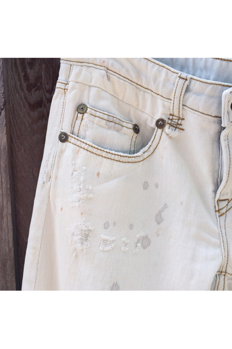 R13Boy Skinny Low Rise Bleached Jeans