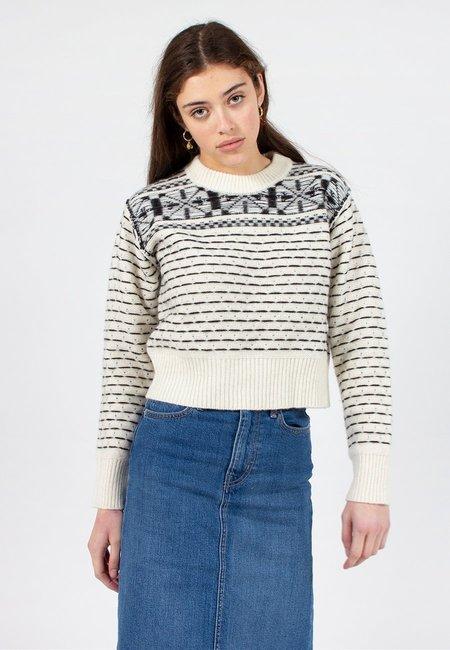 Calvin Klein Fairisle Knit Sweater - black/egret