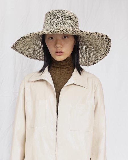 Clyde Wide Brim Flat Top Raffia Hat - Grey/Natural