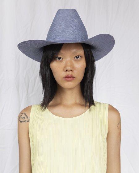 Clyde Panama Straw Cowboy Hat - Denim Blue