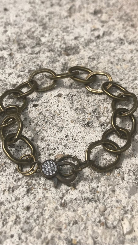 Marly Moretti Pave/Brass Chain Bracelet - Cubic