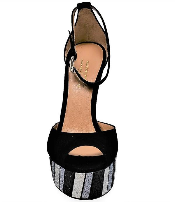 Madison Maison By Roberto Festa Suede Venezia Platform Heel - Black