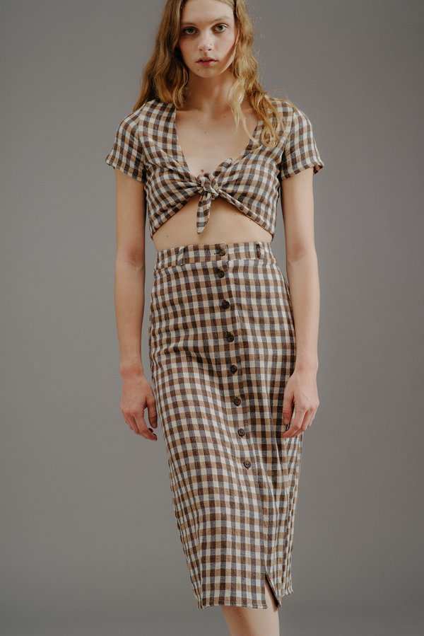 RITA ROW KAS SKIRT - BROWN GINGHAM