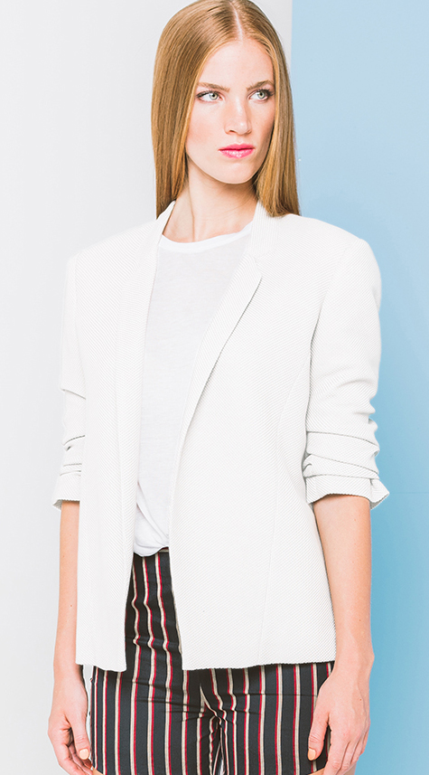 Obakki Cotton Blazer with Rouched Sleeves