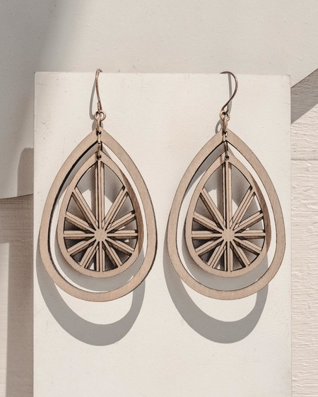 Fool's Gold enchantress teardrop earrings - WOOD