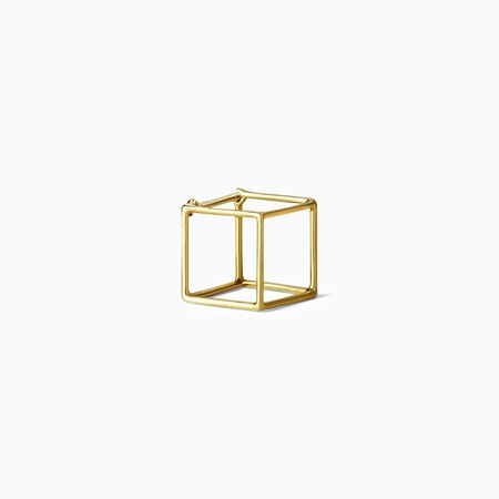 Shihara 3D Square Earring 10mm - 18k Yellow Gold