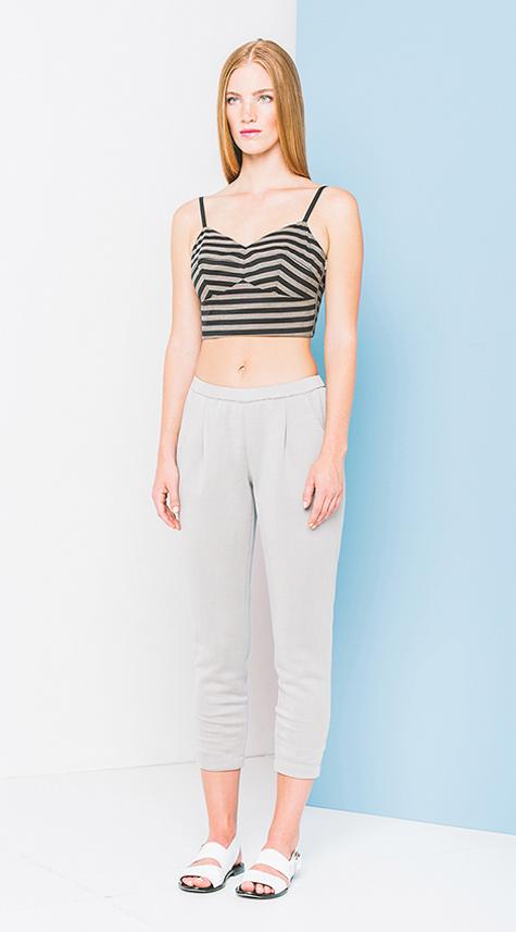 Obakki Cropped Pant with Elastic Waistband