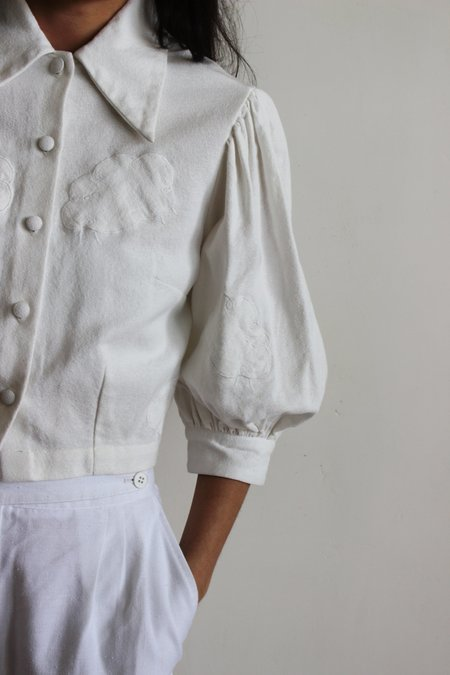 hannah kristina metz shepherd blouse - white