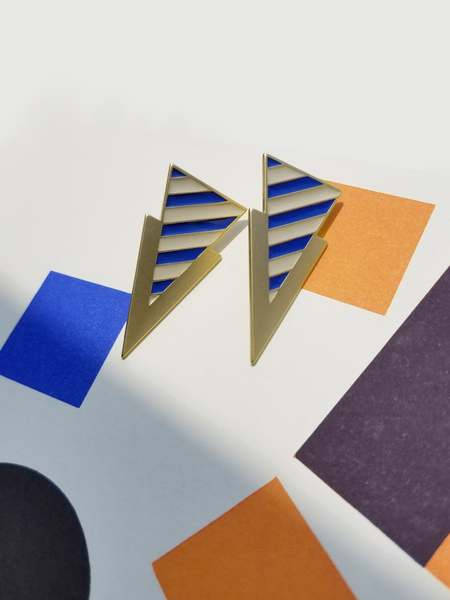 Matter Matters Striped Tri Earrings - Blue/Beige