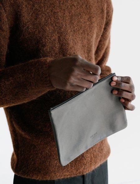 Isaac Reina 056 Simple Lambskin Zipped Pouch - Black