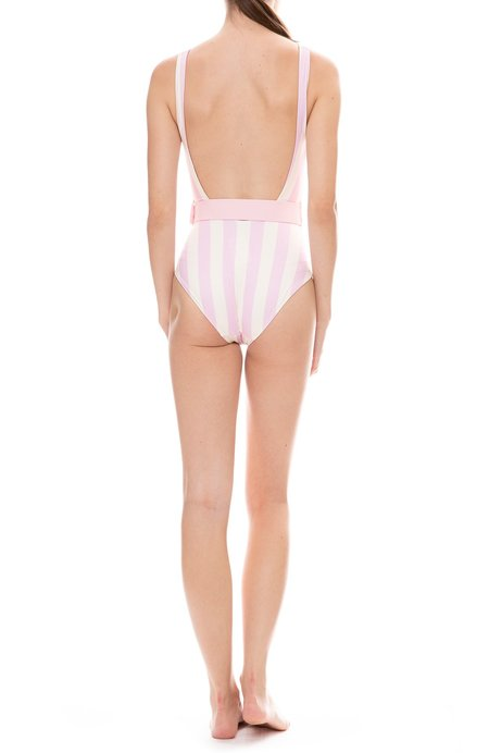 Solid and Striped The Anne-Marie Belt One-Piece Swimsuit - Baby Pink/White Stripe