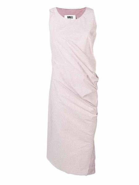 MM6 SLEEVELESS STRIPED DRESS - pale pink/white