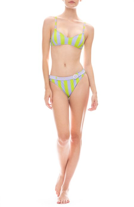 Solid and Striped Rachel Belt Bikini Bottom - Lavender/Lime Stripe
