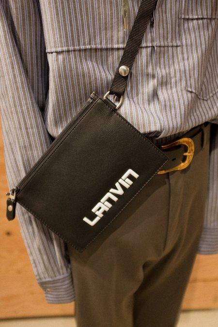 Lanvin Flat Leather Shoulder Pouch - Black