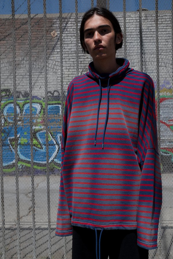 Martine Rose Sunbleached Red Striped Batwing Drawcord Pullover