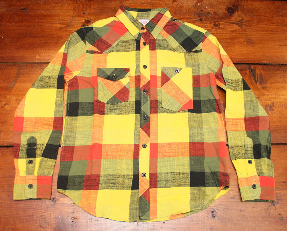 Men 39 s topo designs work shirt yellow plaid flannel for Design a work shirt
