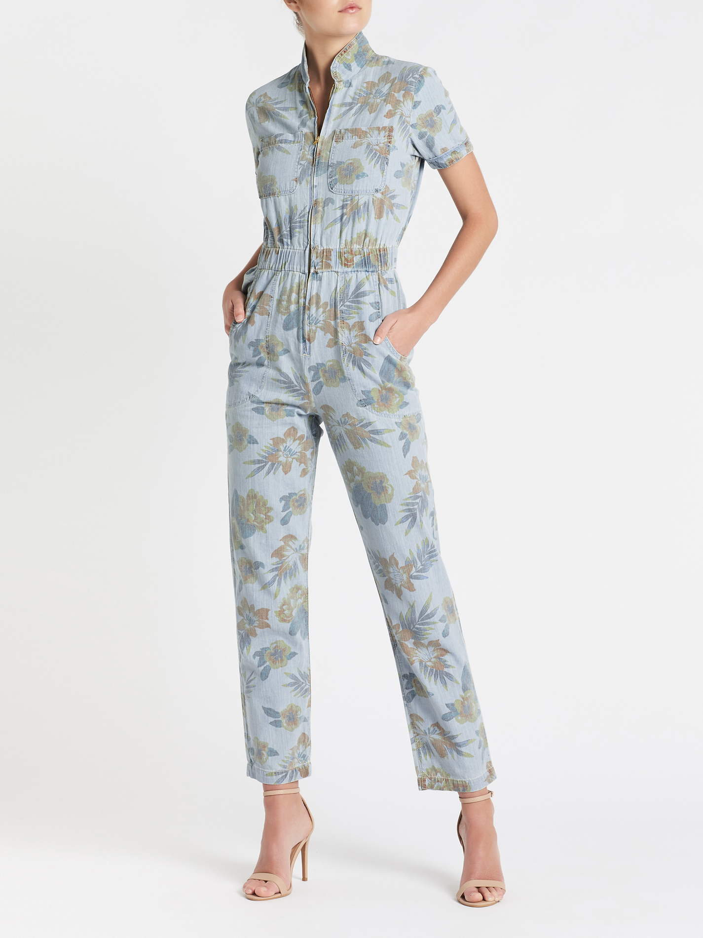 big sale promo code top-rated official Mother Denim The Zip Up Short Sleeve Jumpsuit - blue