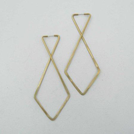 Essie Day Cross Hoop Earrings - Brass