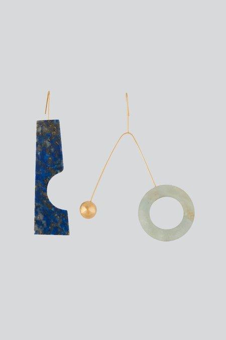 D'estree Asymmetrical Blue Stone Earrings