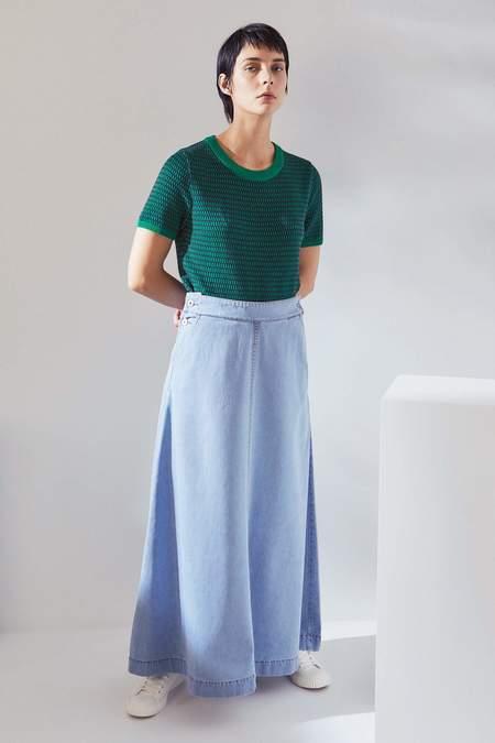 Kowtow Outline Skirt - pale blue denim