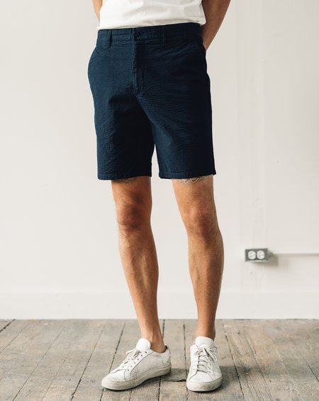 Norse Projects Aros Seersucker Shorts - Dark Navy