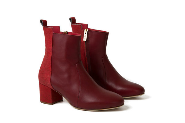 Inlu Middle Heel Boots   Bordeaux/Crimson Red by Garmentory