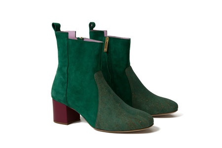 INLU Middle-heel Ankle Boots - Green/Plum