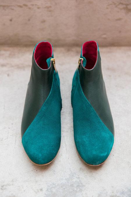 INLU Low-heel boots - Blue/Green Suede