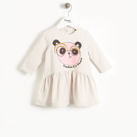Kids the bonnie mob prudence embroidered dress - sand