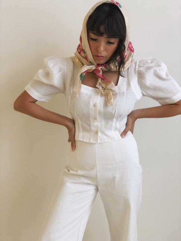 Hannah Kristina Metz Linen Harriet Blouse - White