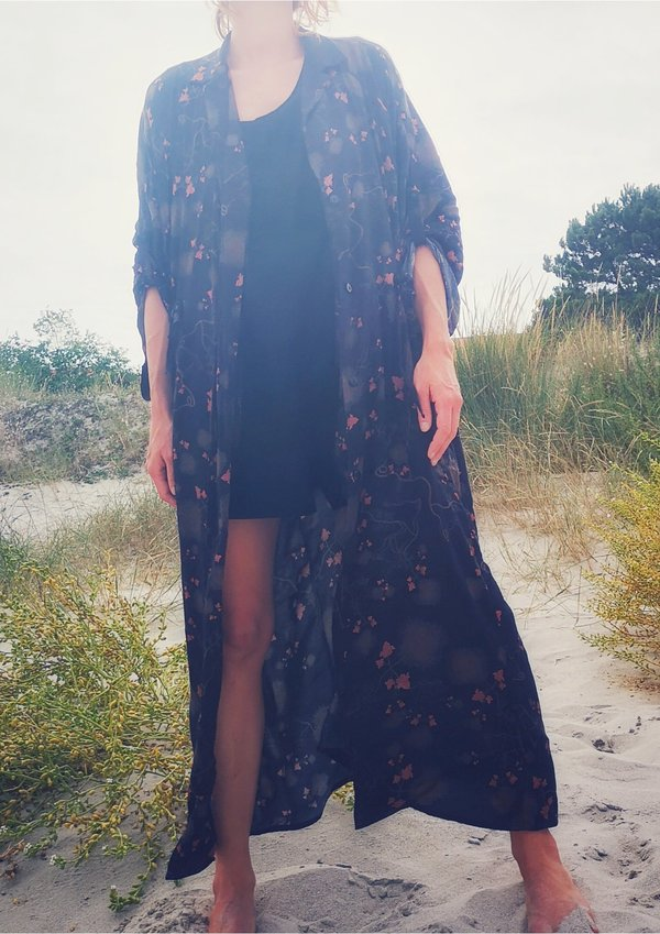 Berenik RAYON LONG SUMMER DRESS/COAT - printed black/rust