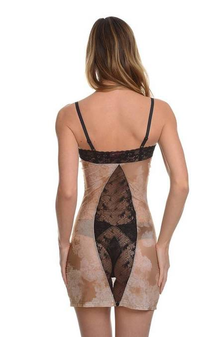 Samantha Chang Filigree Chemise - Nude/Black