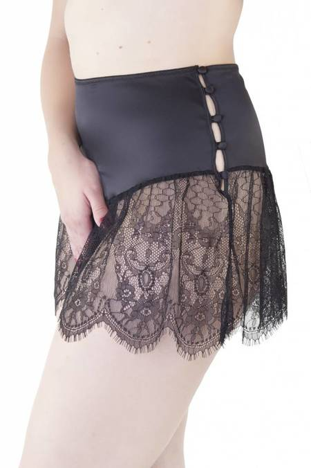 Playful Promises Bettie Page Retro Lace French Knicker - Black