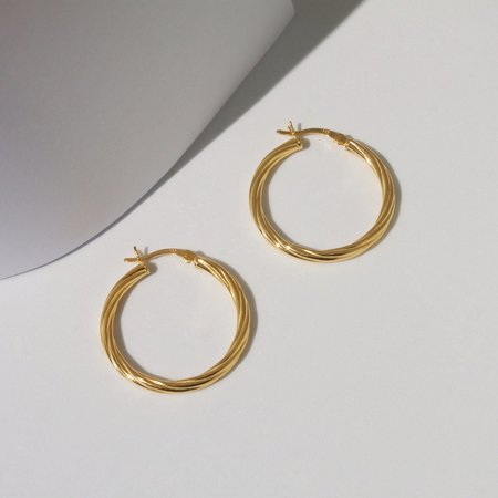 Eleventh House Flaxen Hoops - 18k Yellow Gold