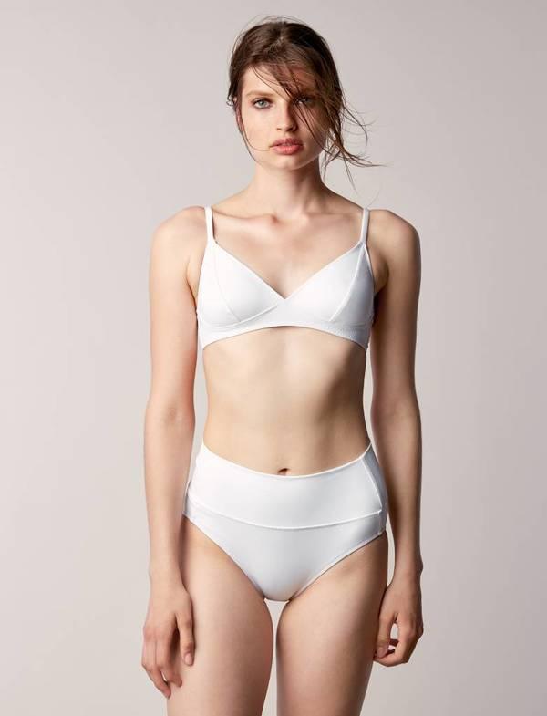 Fortnight Fold over bikini bottom - White