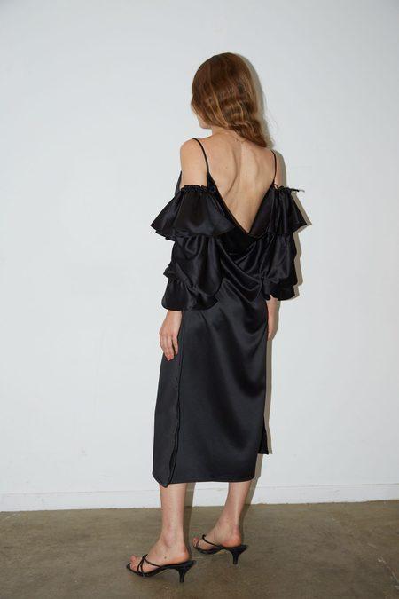 Aéryne Gazza Dress with Harp Sleeves - Black