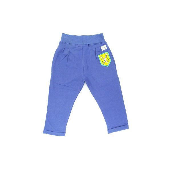 kids indikidual club patch harem pants - navy blue