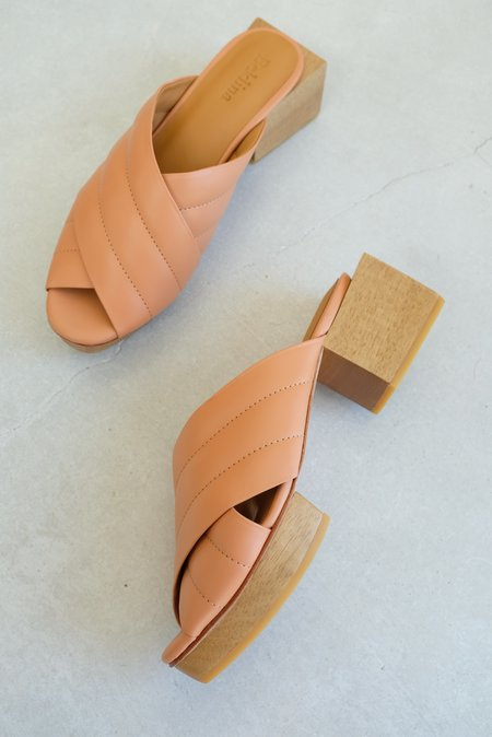 Beklina Matisse Criss-cross Platform Slide - Peach