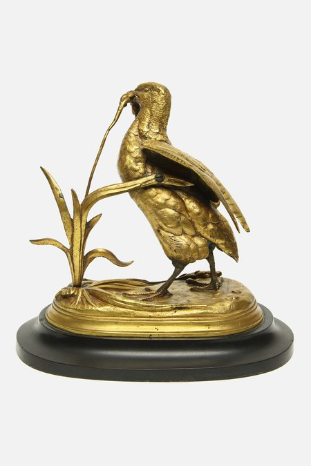 House of St. Clair VINTAGE JULES MOIGNIEZ BRONZE FEEDING BIRD SCULPTURE