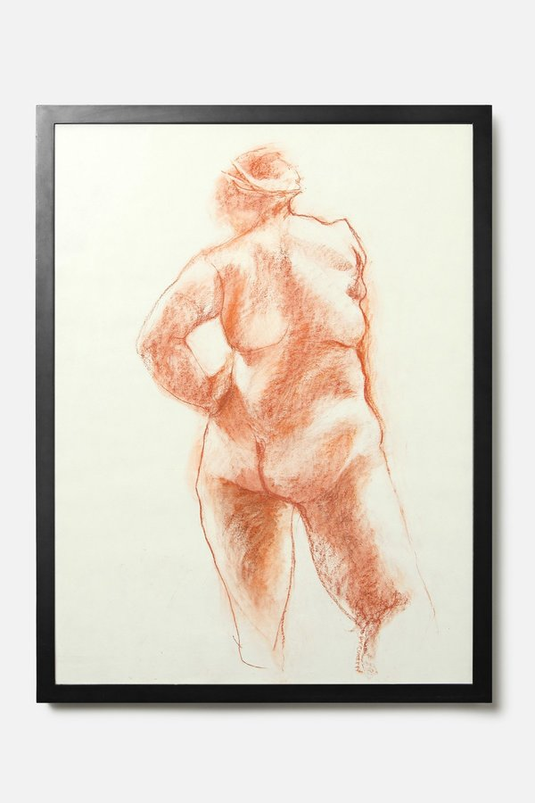 House of St. Clair VINTAGE RED CHALK FEMALE NUDE