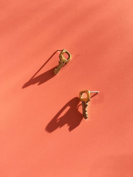Mitchell Street Metal Key Stud Earrings - Brass