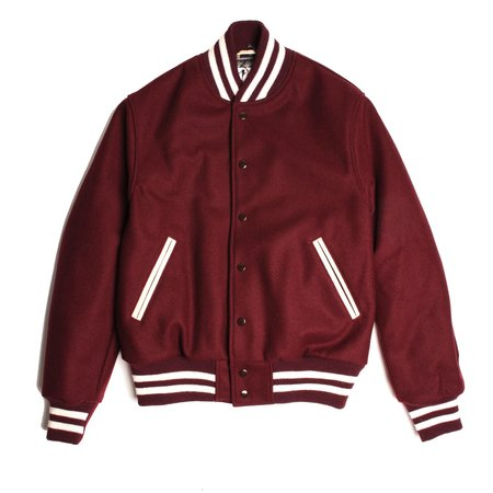 Golden Bear Wool Varsity Jacket - Maroon
