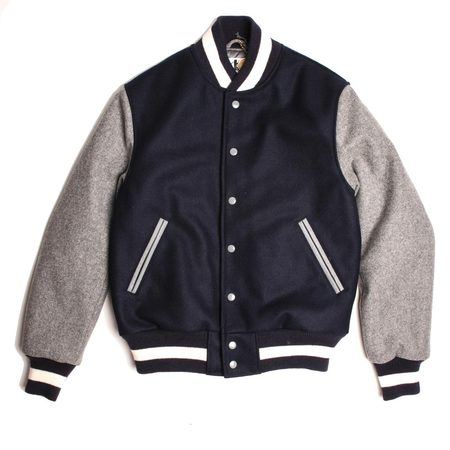 Golden Bear Wool Varsity Jacket - Navy/Grey